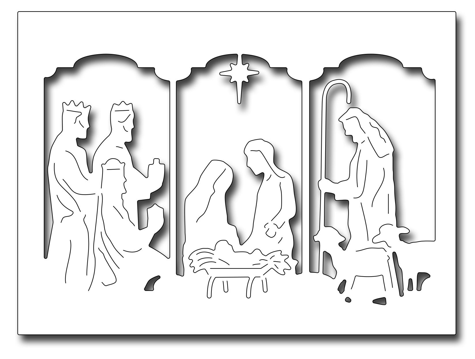 Frantic Stamper Precision Die - Triptych Nativity Card Panel ...