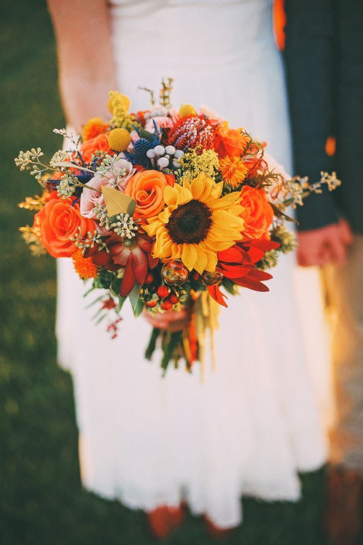 Bright Autumn Sunflower Bridal Bouquet // blue thistle, billy balls, rustic, vintage, farm, w...