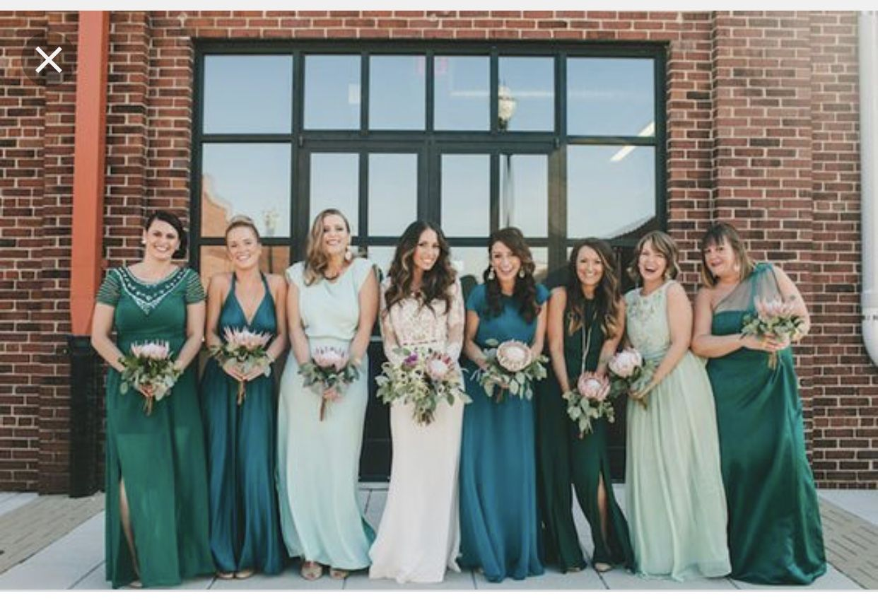 Pin By Tig On Wedding Green Bridesmaid Dresses Mismatched Green Bridesmaid Dresses Green Bridesmaid