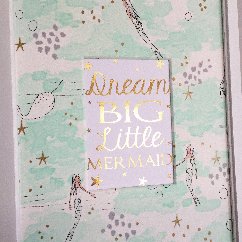 Aqua Blue Baby Girl Mermaid Nursery Decor Dream Big