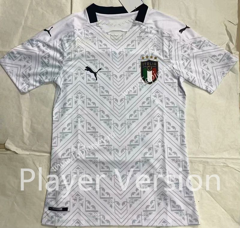 Player Version 2020 European Cup Italy Away White Thailand Soccer Jersey Aaa 818 Soccer Jersey European Cup Soccer