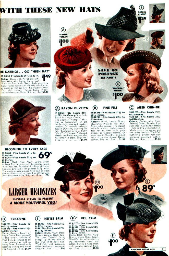 6c2601870c257 hats 1940 vintage fashion style color photo print ad model magazine 40s war  era red black blue