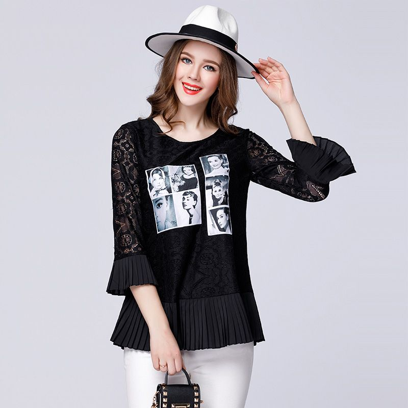 2645c728713 Click to Buy    2017 spring women print lace T-shirts plus size ...