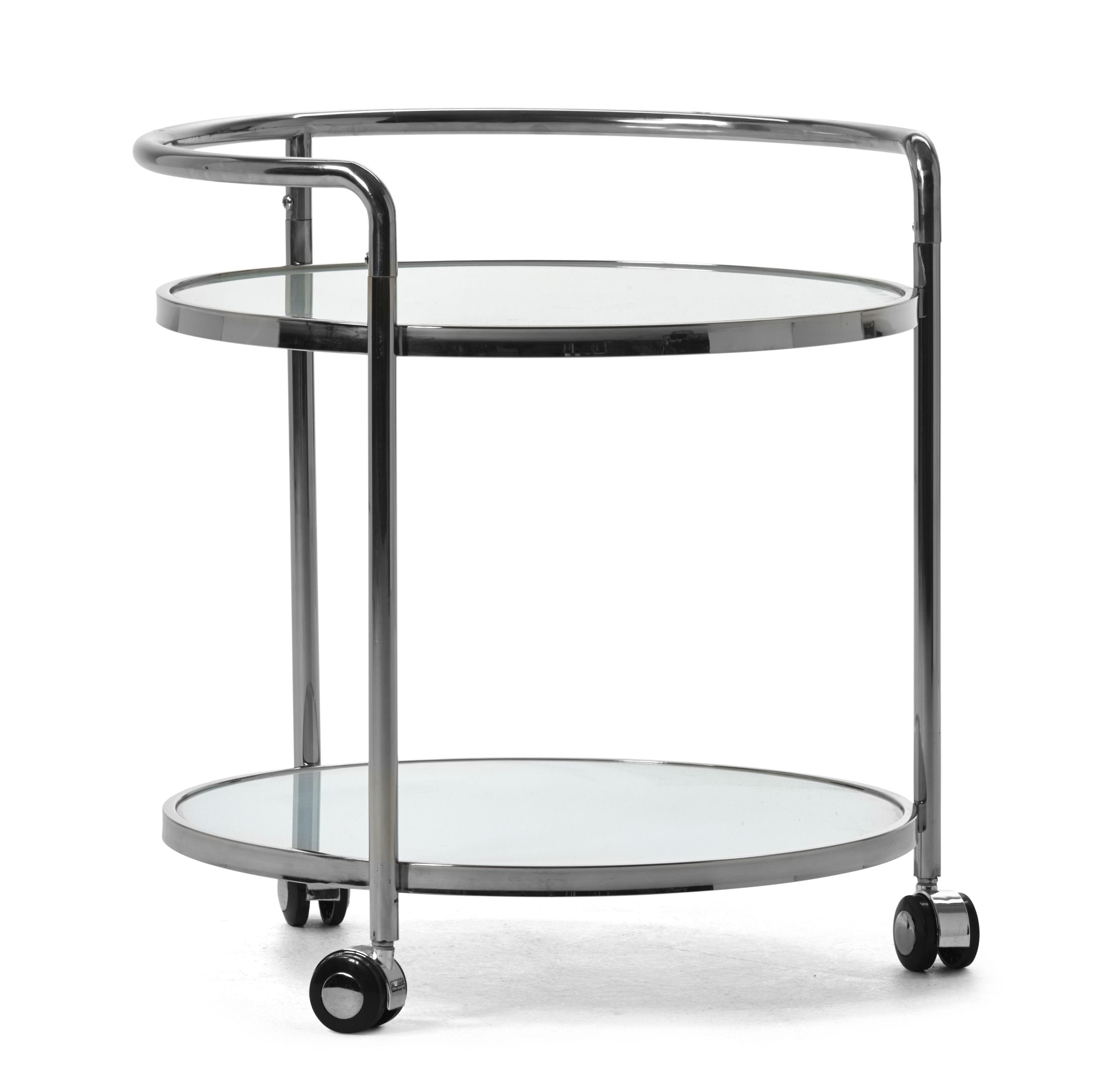 Runt sidobord med hjul som gör bordet lätt att flytta Underrede i rostfritt stål och skiva i