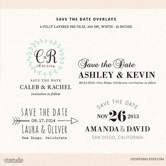 Digital Save the Date template overlays - wedding photoshop card - save the date template