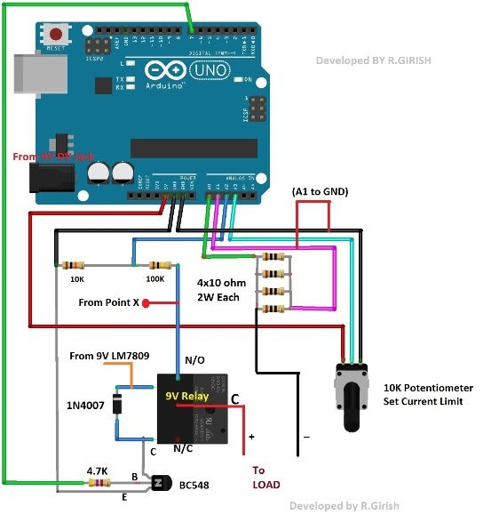resistor network for Over Current Cut-off Power Supply Using Arduino ...
