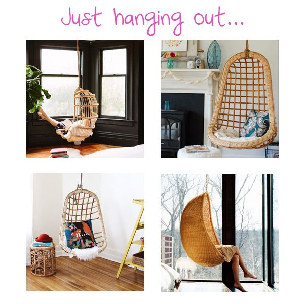 Just hanging out. | A hanging chair is an incredibly relaxing piece of furniture. Perfect for both indoors and outdoors, you can read, watch TV or take an impromptu nap.  What do you think of this latest home trend?