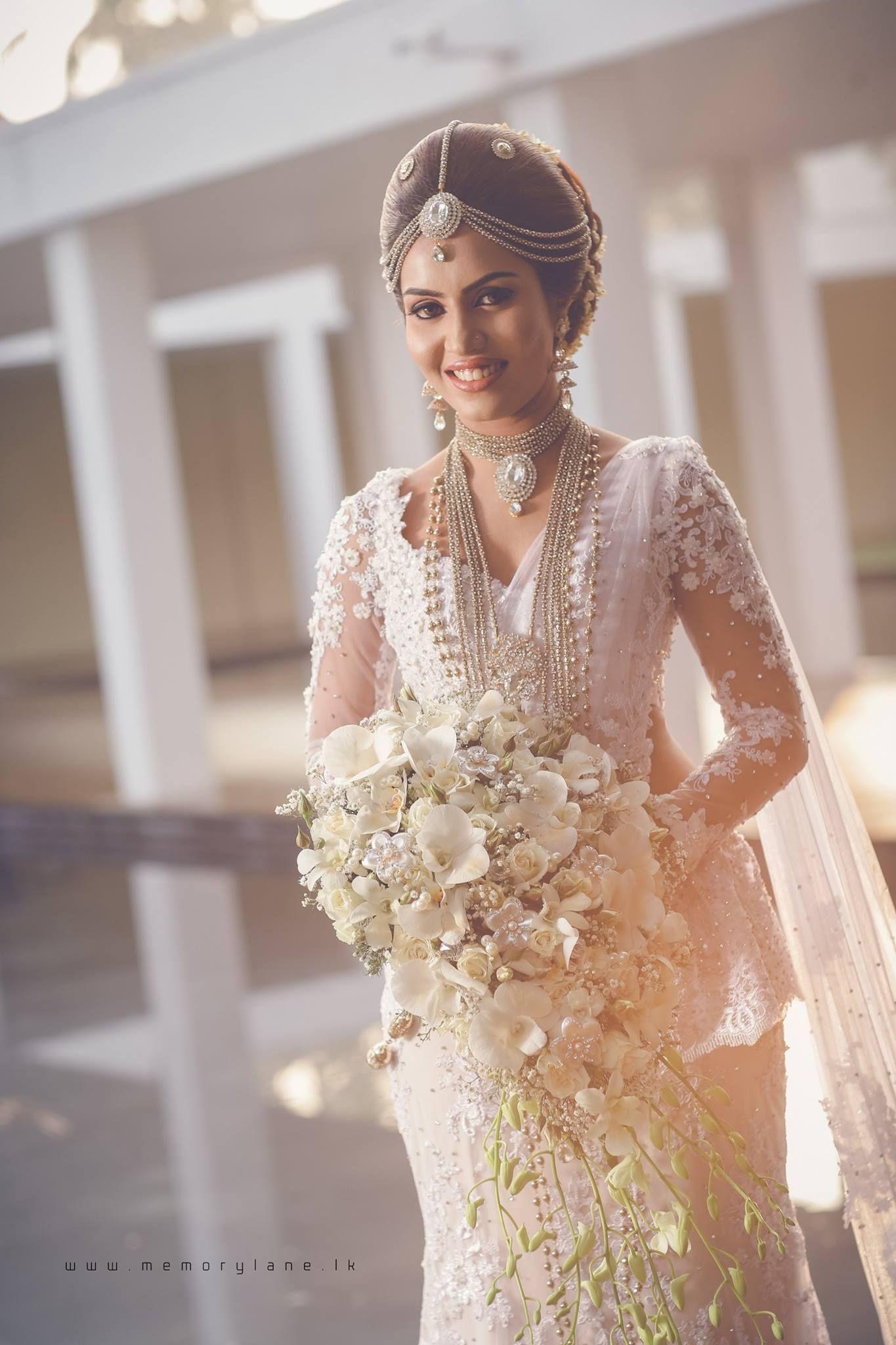 Sri Lankan Bride Christian Bridal Saree White Saree Wedding Bridal Wedding Dresses
