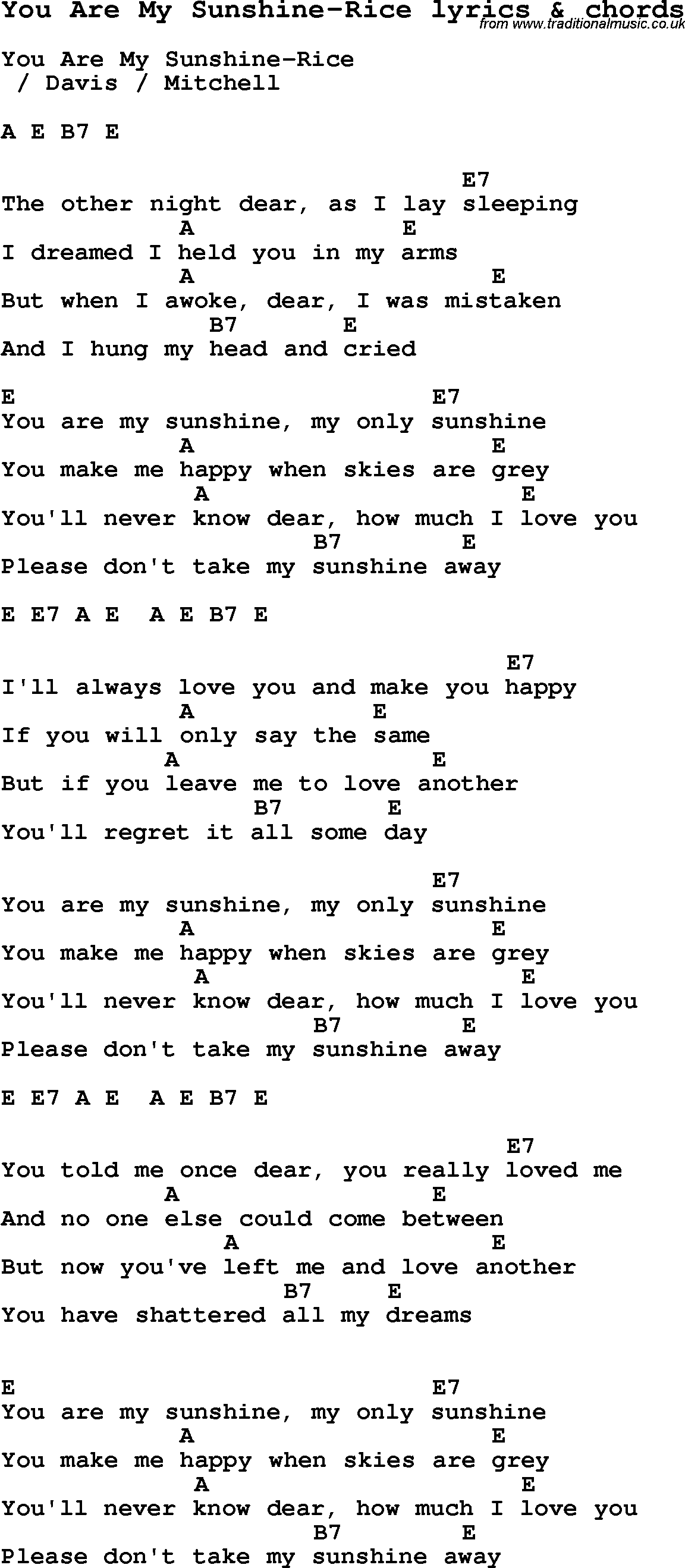 Love Song Lyrics For You Are My Sunshine Rice With Chords For