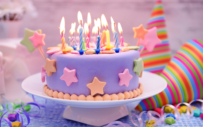 Download wallpapers birthday cake candles sweets cakes and