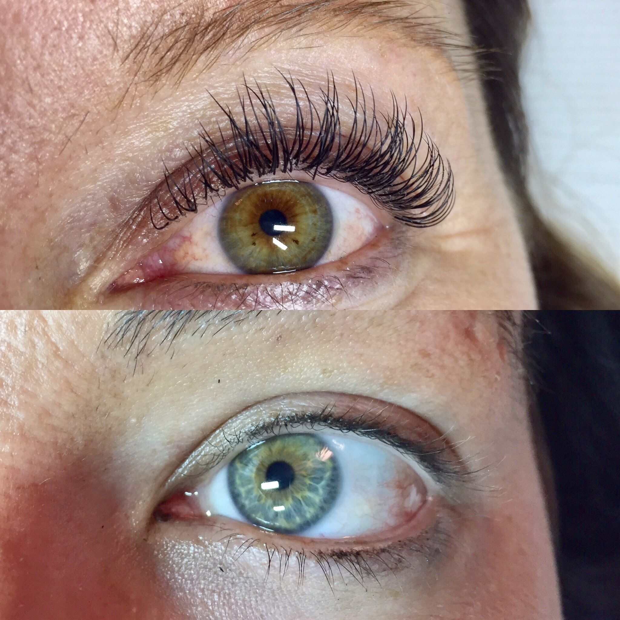 Before and after picture of Mink eyelash extensions  D curl opens