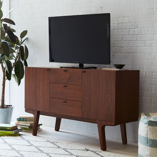 Modern Media Console Walnut West Elm Apartment Furniture Mid Century Modern Sideboard Home Decor