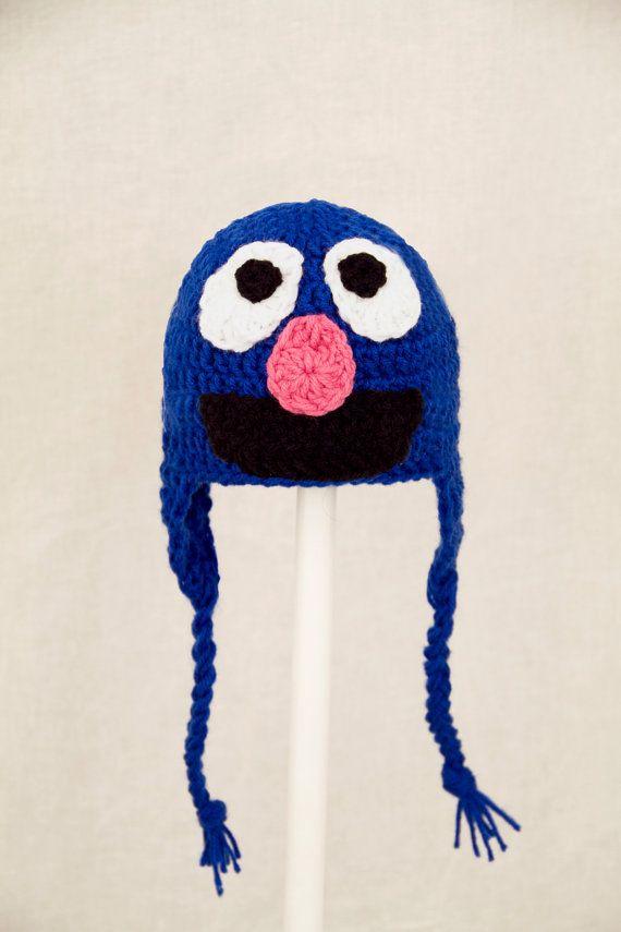 Grover Monster Earflap Hat from Sesame Street, Blue Crochet Beanie ...