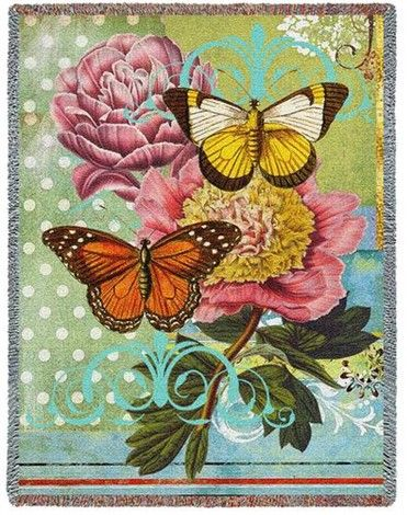 Butterfly Tapestry Throw Botanical Coquette