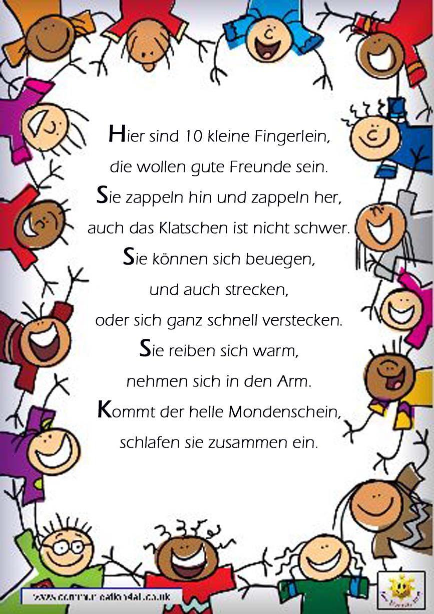 Fingerspiel Reim Gedicht Kindergarten Erzieherin Kita Kinder ...