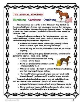 Animal Kingdom Carnivore Herbivore Omnivore Quiz Writing