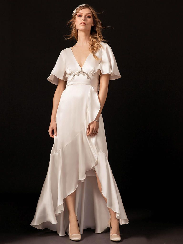 Satin Bias Cut V Neck Wedding Dress With High Low Front And Flutter