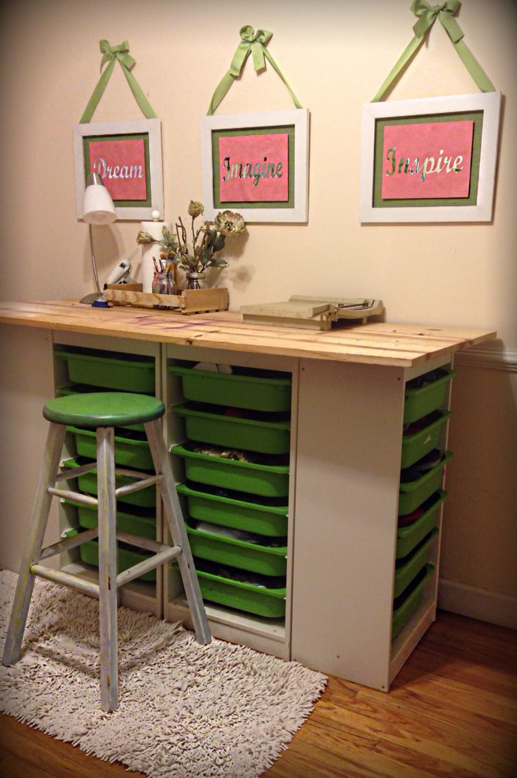 Superior DIY Craft Room Table Ikea TROFAST Storage Shelving And Unfinished Boards.
