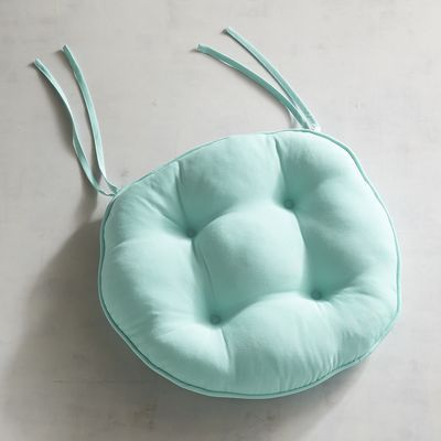 Round Bistro Dining Cushion In Cabana Aqua Pier 1 Imports Outdoor Dining Chair Cushions Dining Chair Cushions Chair