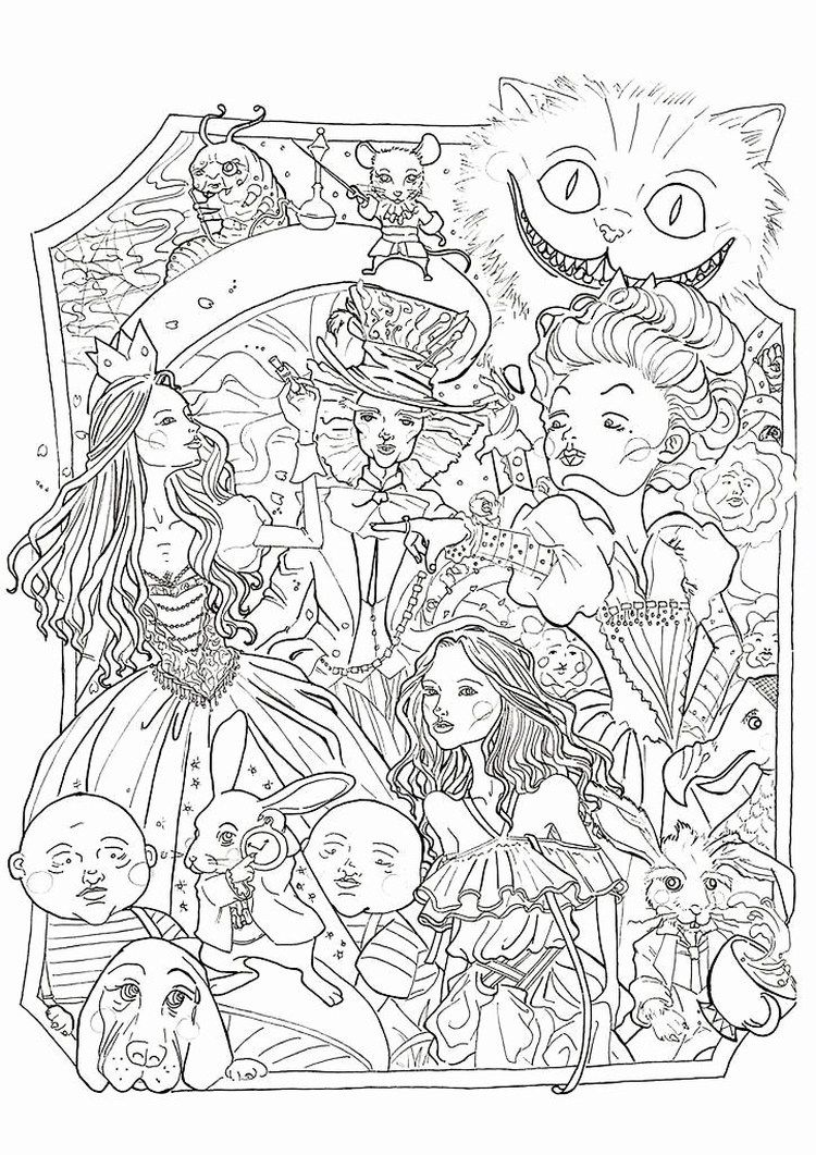 Alice in Wonderland Coloring Pages PDF - Free Coloring Sheets