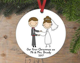 Personalized Wedding Gift Christmas Ornament - Wedding Christmas ...