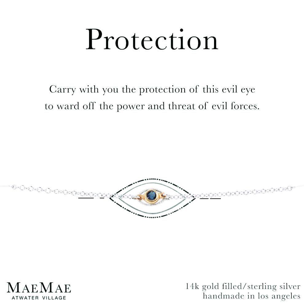 read description Double Evil Eye protection braceley