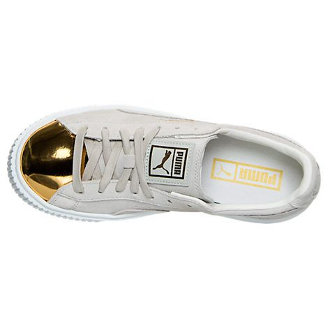 women's puma suede platform gold casual shoes finish line