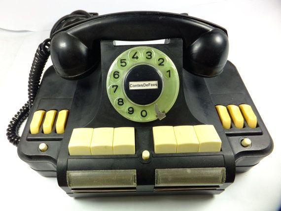 Russian Black Rotary Dial Multiline Telephone By Contesdefees 183 00 Bulgaria Vintage Telefon