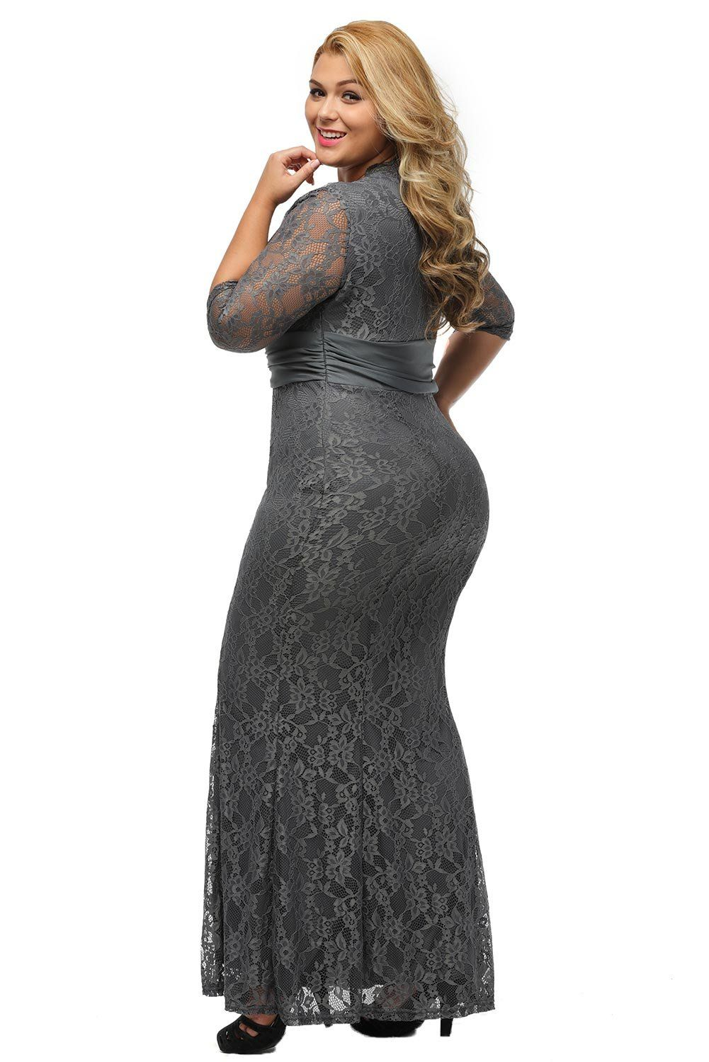 25308d519ba05 XAKALAKA Womens VNeck 3 4 Sleeve Plus Size Lace Wedding Cocktail Dress Size  Grey 2X -- Take a look at the picture by seeing the web link.