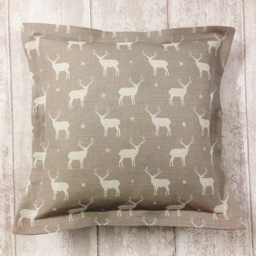 Peony sage truffle stag print oxford square cushion vintage inspired home interiors gifts
