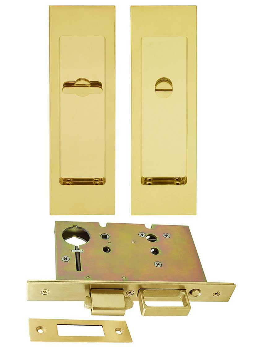Premium Privacy Pocket Door Mortise Lock Set With Rectangular Pulls