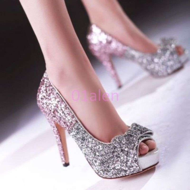 86a6aed78e39 Womens Open Toe High Heel Bling Pumps Pageant Wedding Bridal Fashion Shoes  Beads