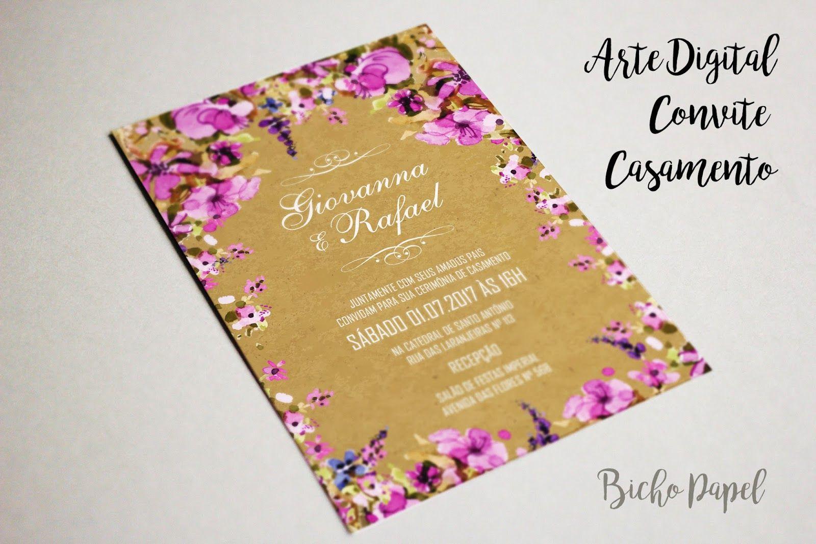 Convite Digital Rustico Casamento Floral Lilas Roxo Convite De