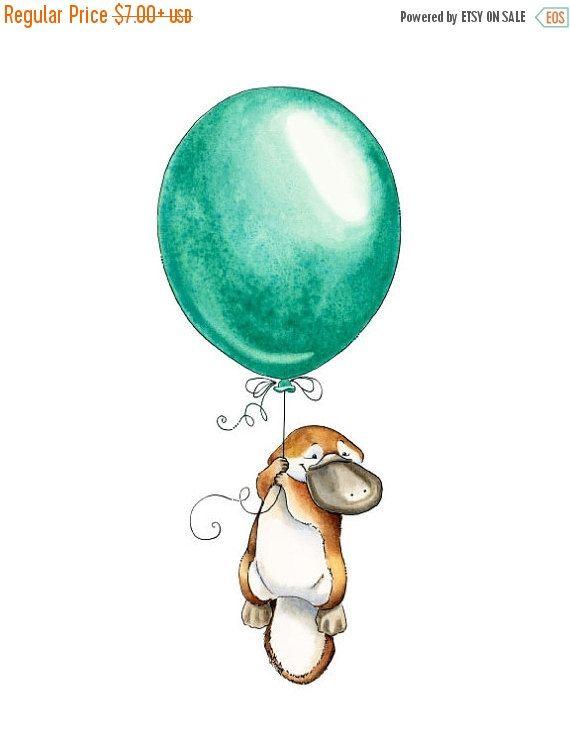 Platypus Art, Platypus Watercolor, Platypus Baby, Australian Animal, Australia Nursery, Australia Art, Platypus Nursery, Balloon, Adventure #etsyonsale