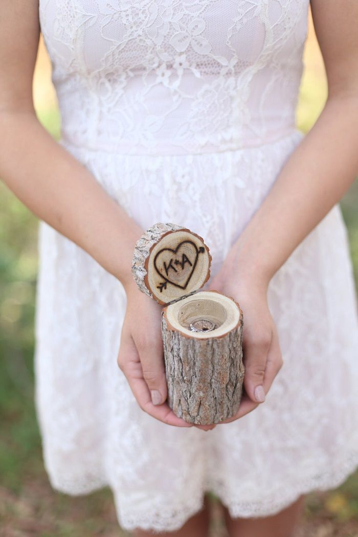We've got 12 rustic wedding ideas from Etsy to perfectly complete your theme! We love this personalized, wood ring bearer pillow box from braggingbags.
