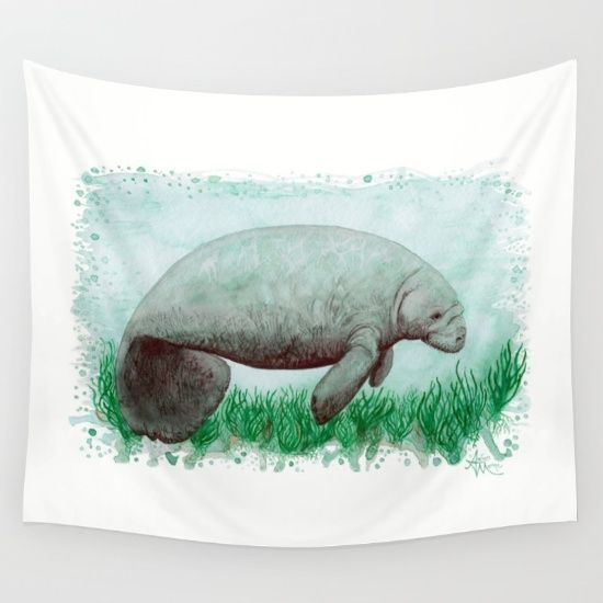 "Wall Tapestry • ""The Manatee watercolor art by Amber Marine ••• AmberMarineArt.com •••"