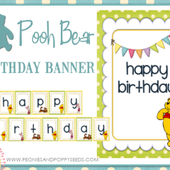 Free Winnie the Pooh Birthday Banner Printable with spacers