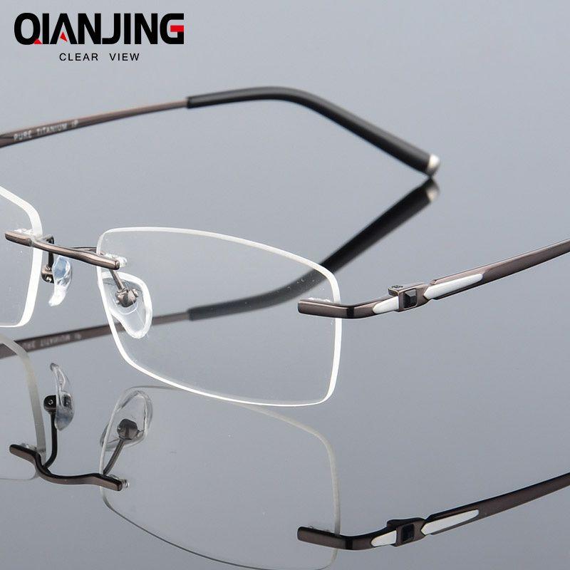 9ae5c933cfee Pure Titanium Eyeglasses Rimless Optical Frame Prescription Spectacle  Frameless Glasses For Men Eye glasses Silicon Foot 611
