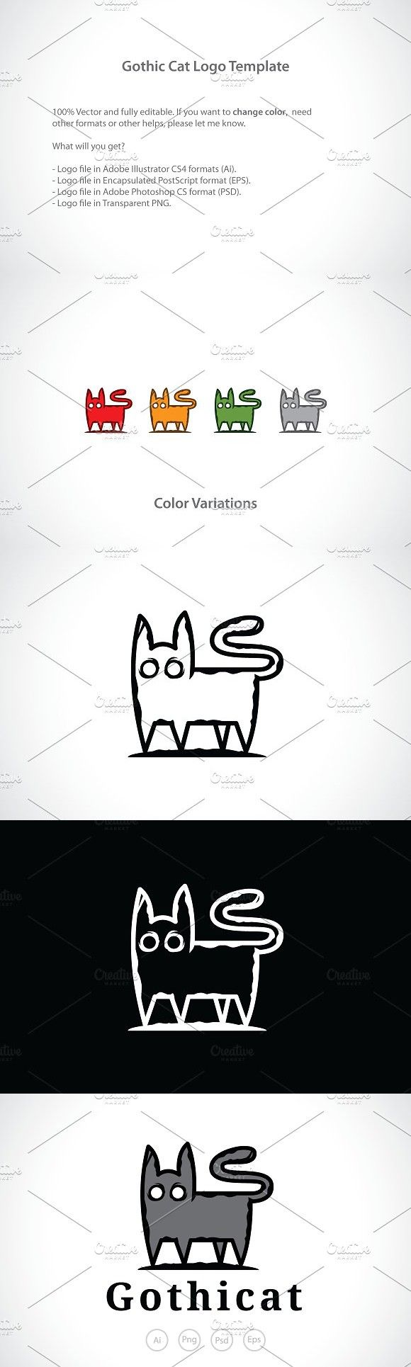 Scary Gothic Cat Logo Template Logo Templates Cat Logo Templates