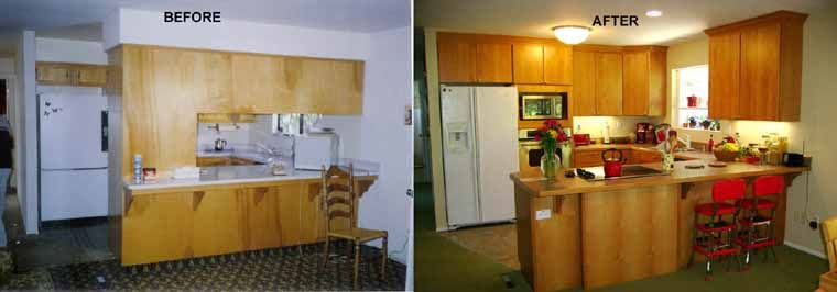What was once an enclosed kitchen with very cool tone colors is now open, spacious with warm tone colors.