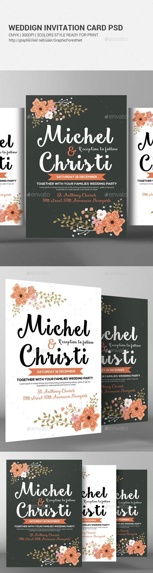 Wedding Invitation Card Psd | Wedding invitation cards, Template and ...
