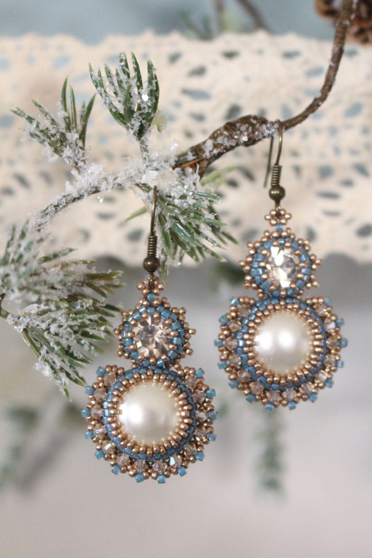 Tutorial for beadwoven earrings 'Decadence' PDF beading