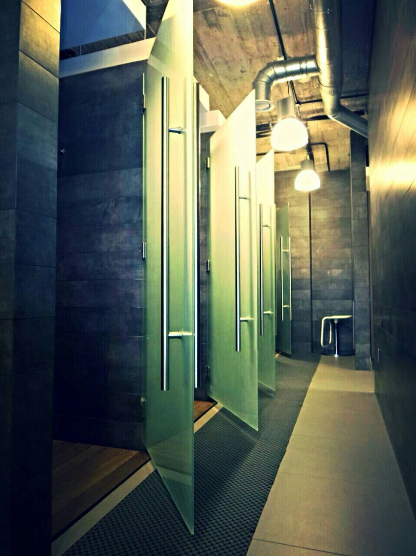 Shower rooms at magma gym creative interior design changing