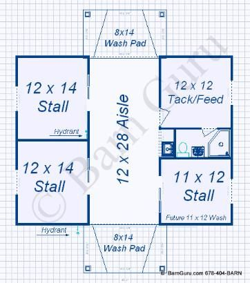 Horse barn floor barn plans 3 stall horse barn for Horse stall floor plans