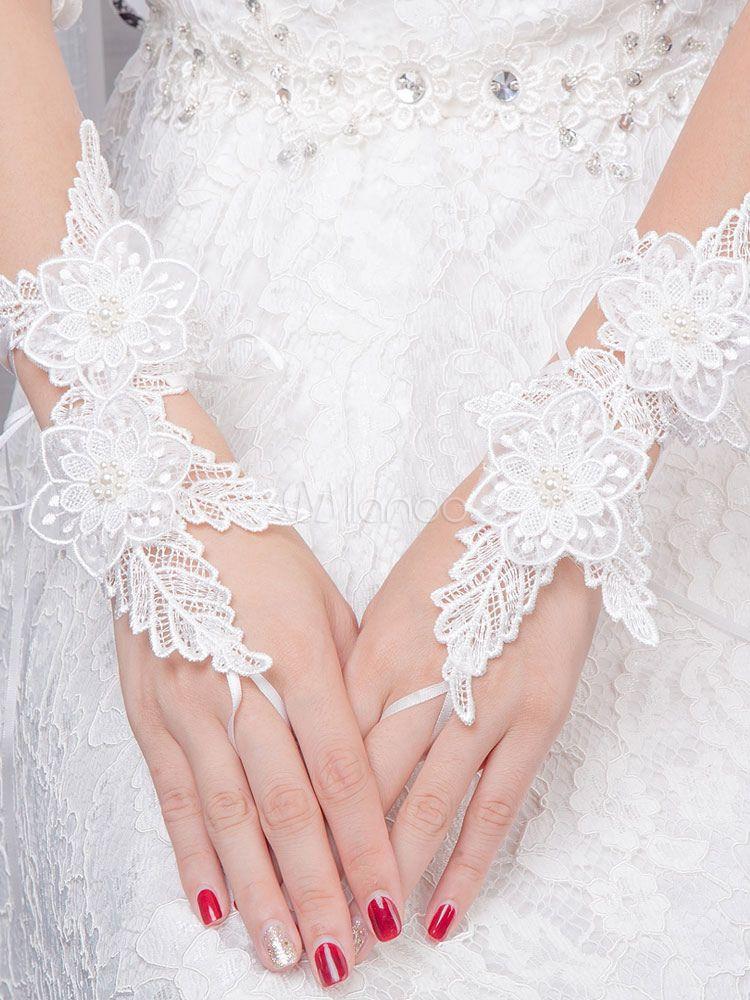 Ivory Wedding Gloves Lace Wrist Length Fingerless Pearls Flowers