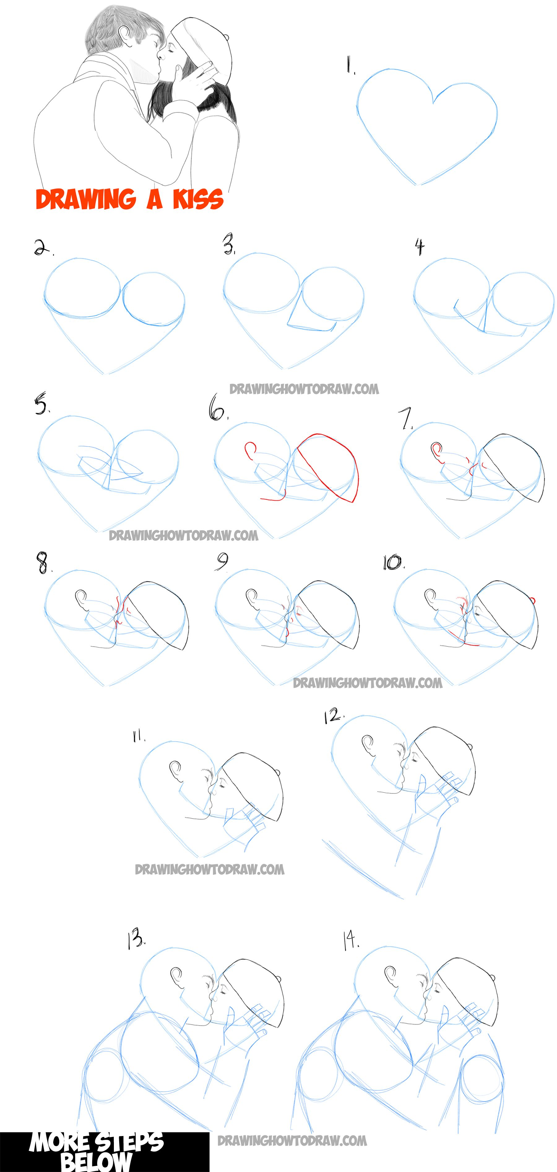 Learn how to draw romantic kisses kissing couples step by step drawing tutorial more