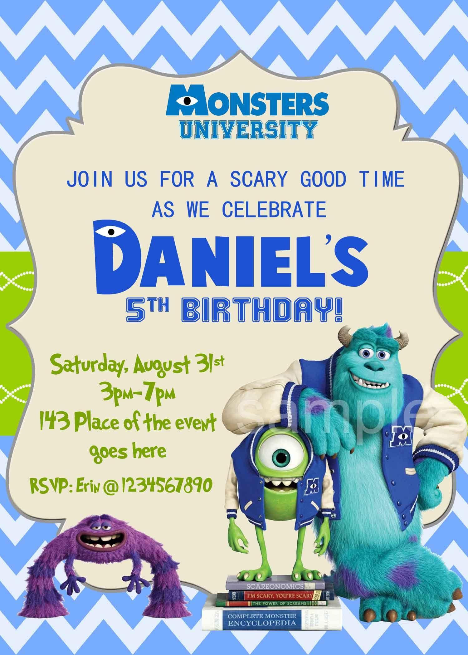 Monster Inc Invitation. Monster Inc Birthday Invitation. Monster Inc ...