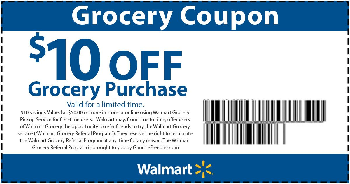 Walmart Grocery Coupon Take $10 off groceries with code