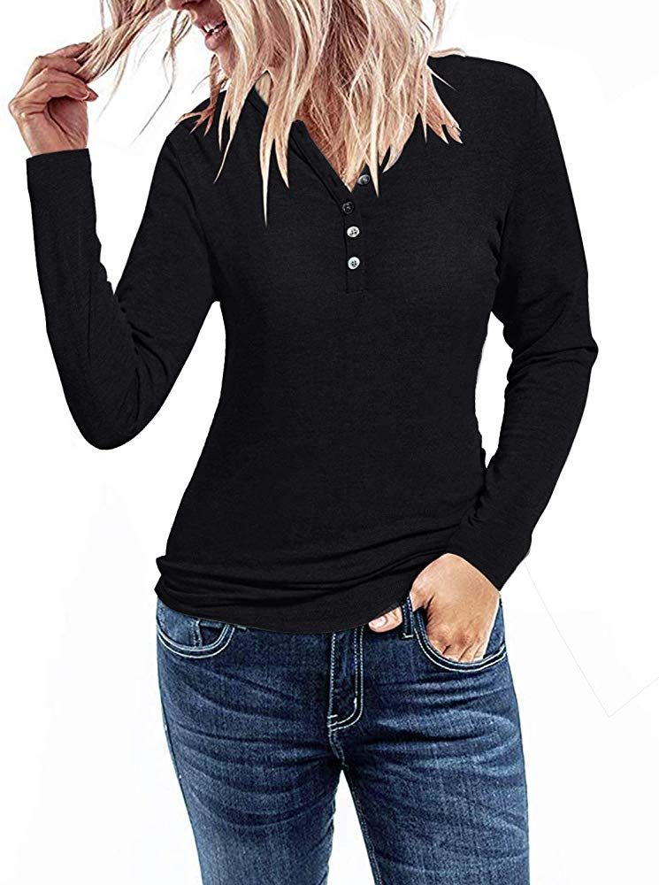 KILIG Womens Long Sleeve V-Neck Button Loose Casual Tunic Tops Blouse Henley T Shirts