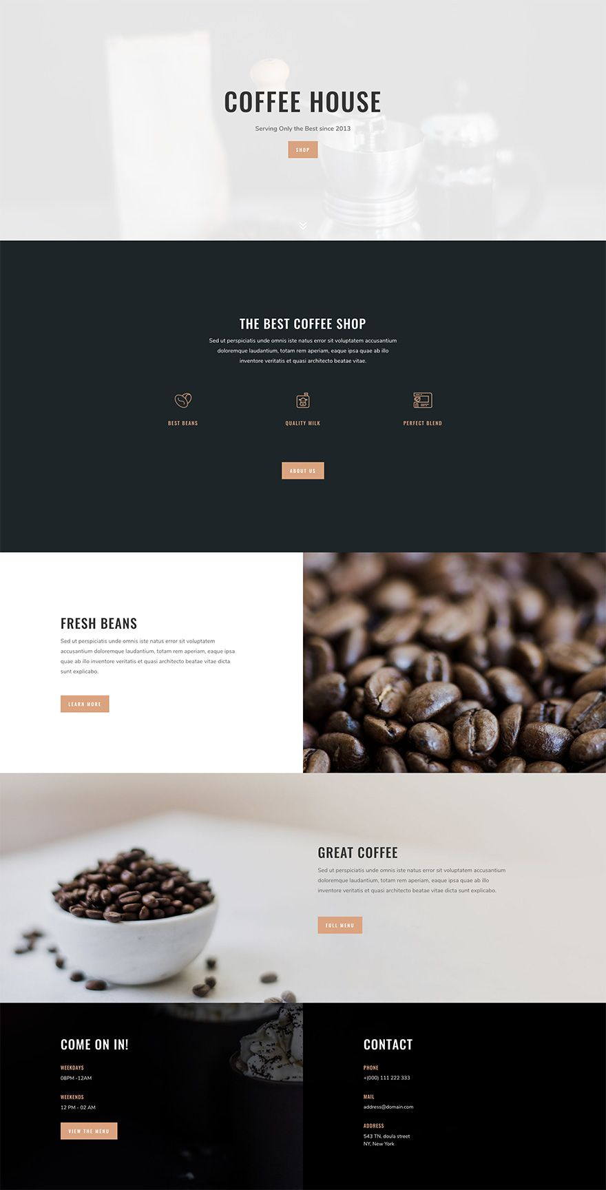 Download A Tasty Free Coffee Shop Layout Pack For Divi Web Layout Design Wordpress Website Design Coffee Shop